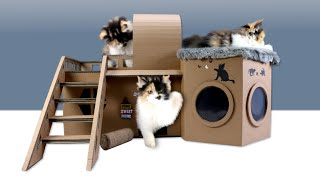 How To Build Amazing Cat House From Cardboard