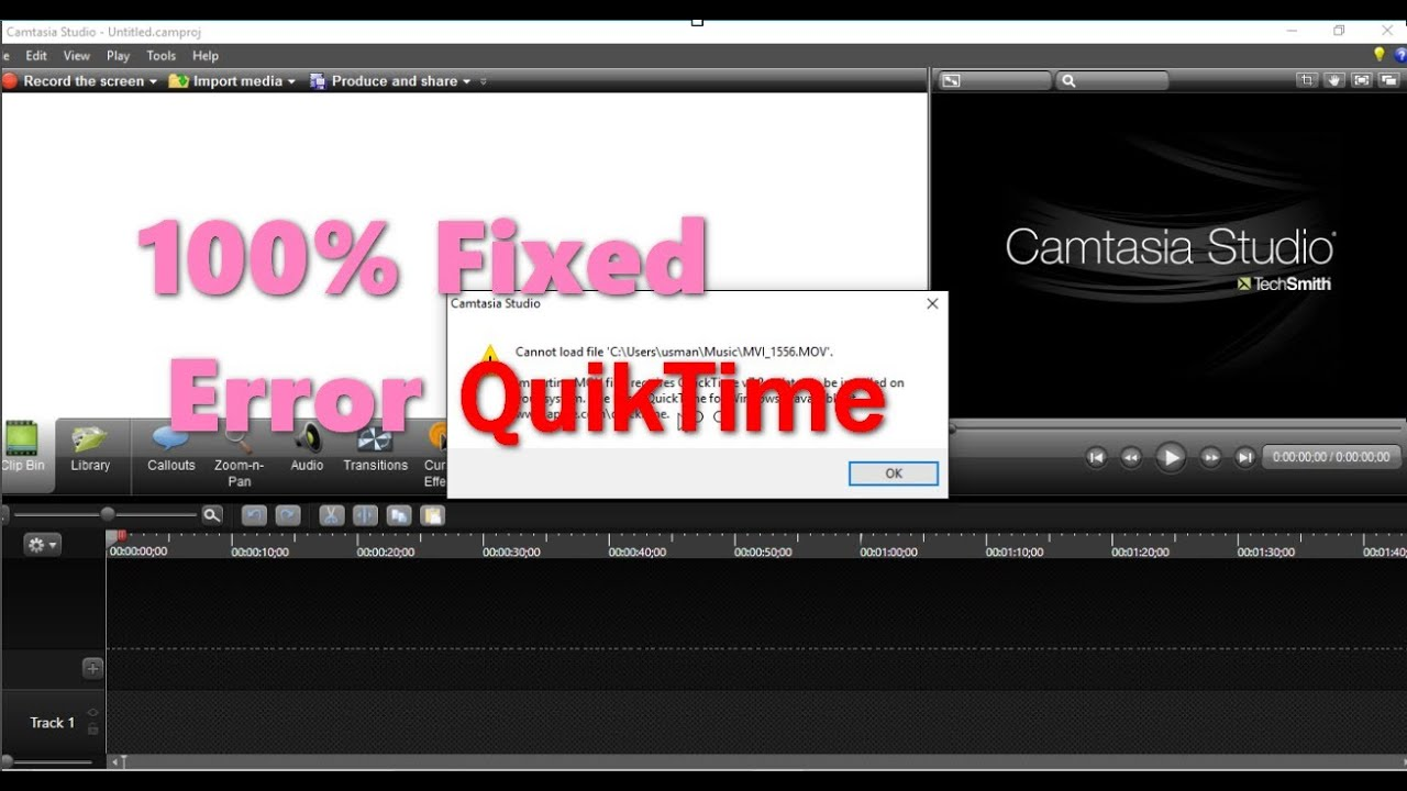Fixed] QUICKTIME Error In All Video Editing Studio Software Windows