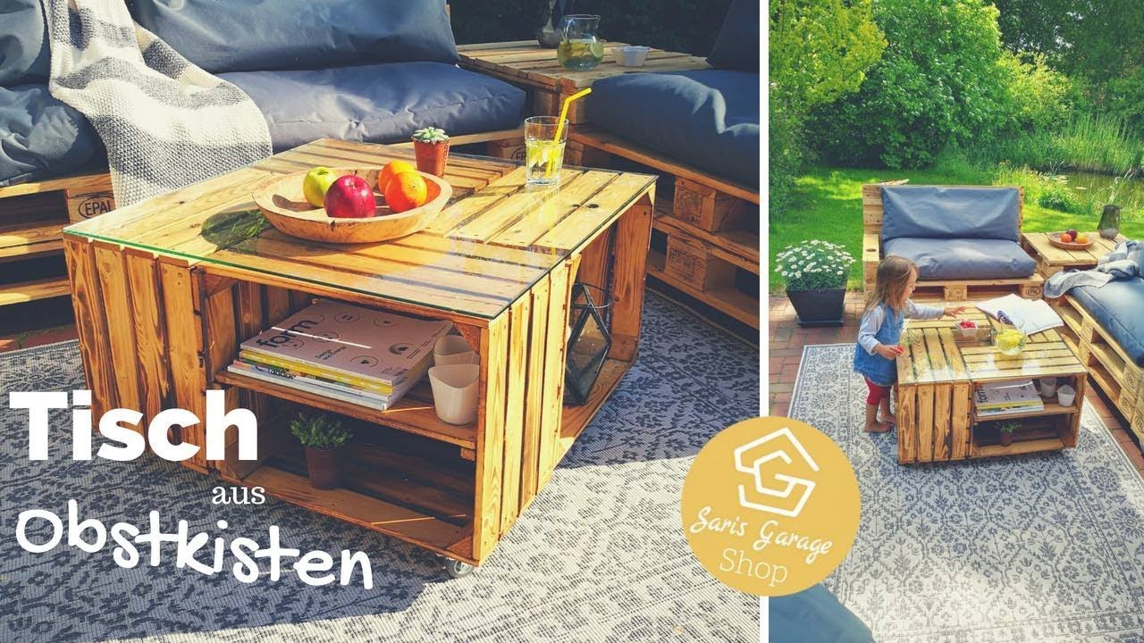 obstkisten tisch selber bauen weinkisten tisch diy couchtisch mit glasplatte youtube. Black Bedroom Furniture Sets. Home Design Ideas