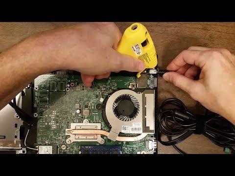 Laptop DC jack repair using a hot glue gun, Dell Inspiron 3558