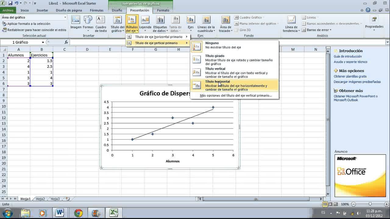 Como hacer un gráfico de dispersion en Excel - YouTube