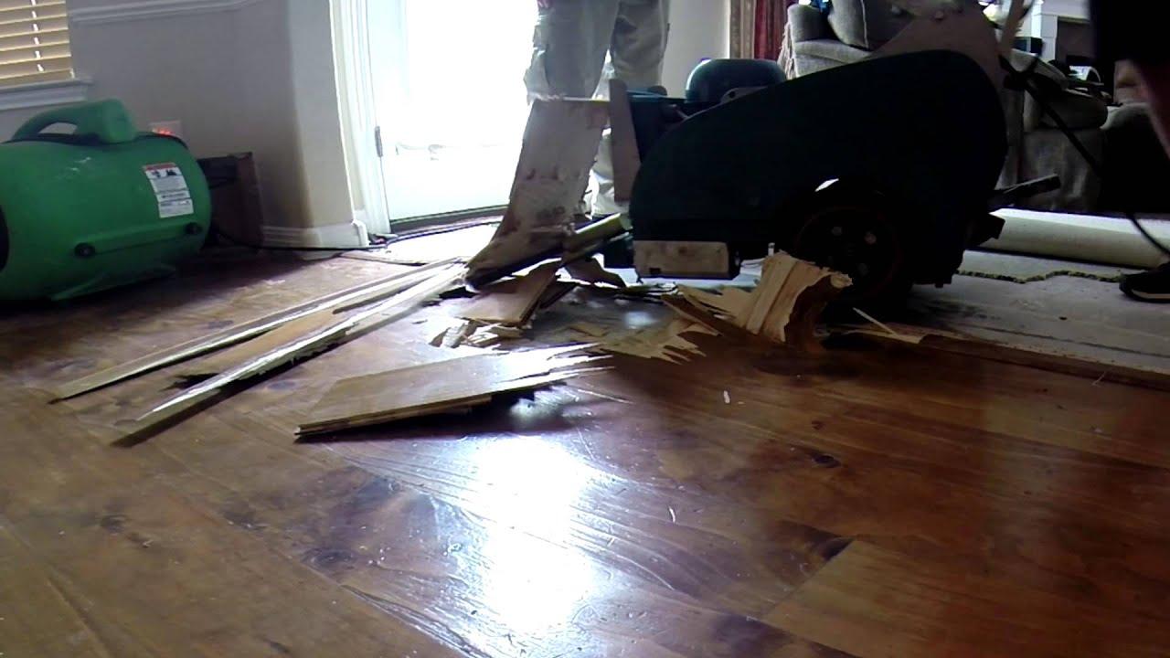 Removing Hardwood Floor With A Floor Scraper Youtube