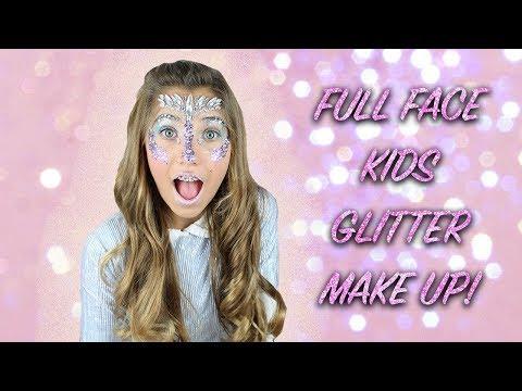 FULL FACE KIDS GLITTER MAKEUP CHALLENGE! | Rosie McClelland