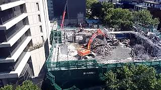 Time lapse of building demolition, 13 Dec 2017