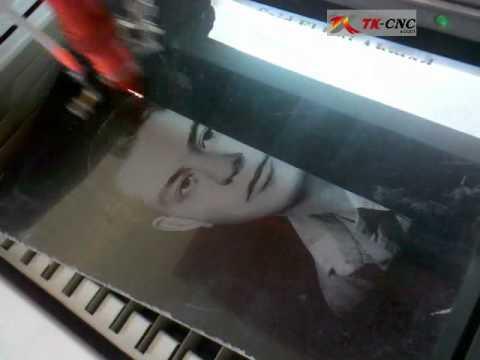Laser photo engraving on marble stone, China laser photo engraving machine