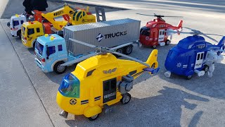 Toy Helicopter Slide Play and Sliding Trucks - Video for Kids