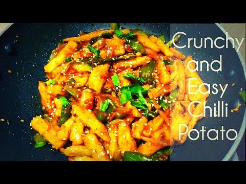 chilli potato in hindi   how to make honey chilli potato   honey chilli potato at home