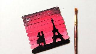 Popsicle sticks painting / handmade Birthday gift ideas / popstick painting / By Punekar Sneha