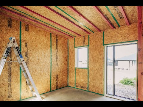 Animation of construction of wooden house made by for Building a house with sip panels