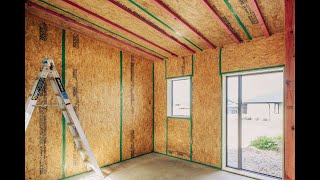 Animation of construction of wooden house made by technology SIP panels