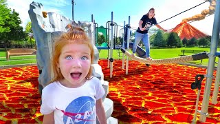 ESCAPE the LAVA MONSTER! The Floor is Lava Challenge at a New Park with Mom! (follow the trail game)