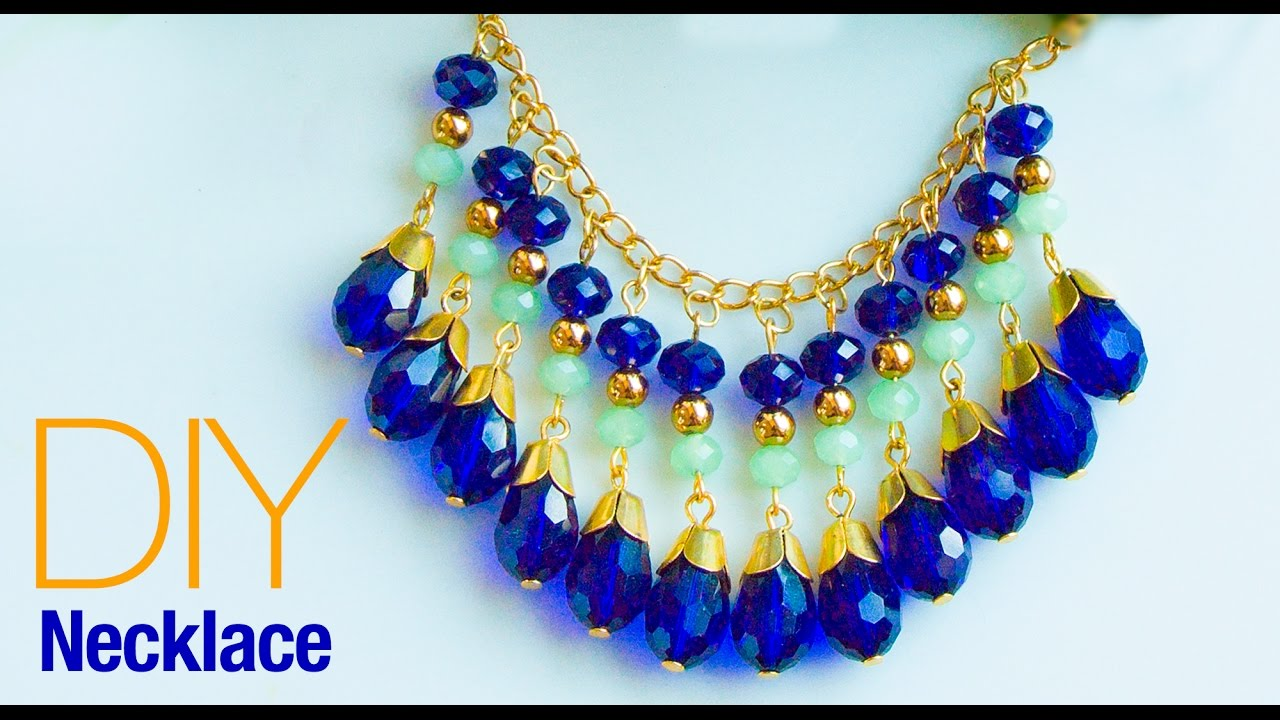 how to make necklace at home diy statement necklace jewelry making beads art youtube. Black Bedroom Furniture Sets. Home Design Ideas