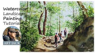 Watercolor Landscape Painting Tutorial / Mountain trek / Color mixing information [ART JACK]
