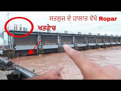 Satluj River ਸਤਲੁਜ ਦੇ ਹਾਲਾਤ ਵੇਖੋ Ropar  ਭਾਖੜਾ ਬੰਨ੍ਹ ਤੋਂ ਛੱਡਿਆ ਗਿਆ ਧਾਰਿਆ Flood ਦੇ ਖਤਰੇ 'ਚ Roper