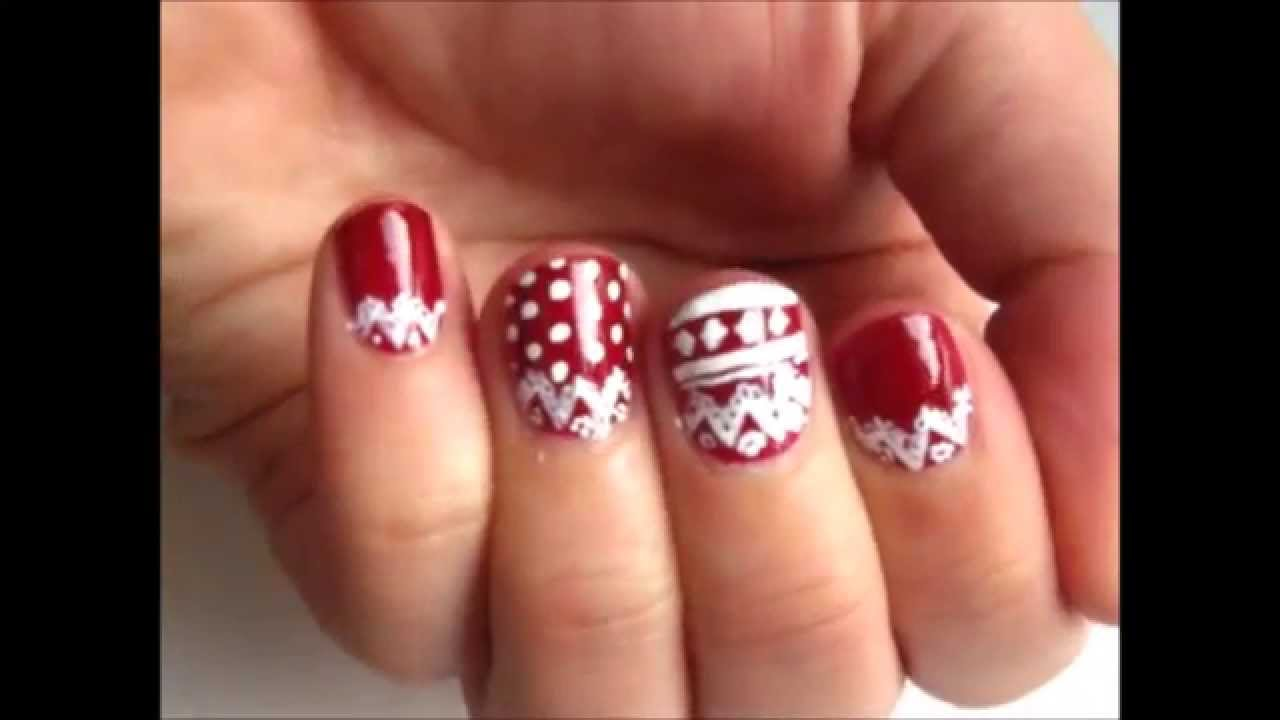 Natale 2014 - Winter themes - Nail Art tutorial #5 - YouTube