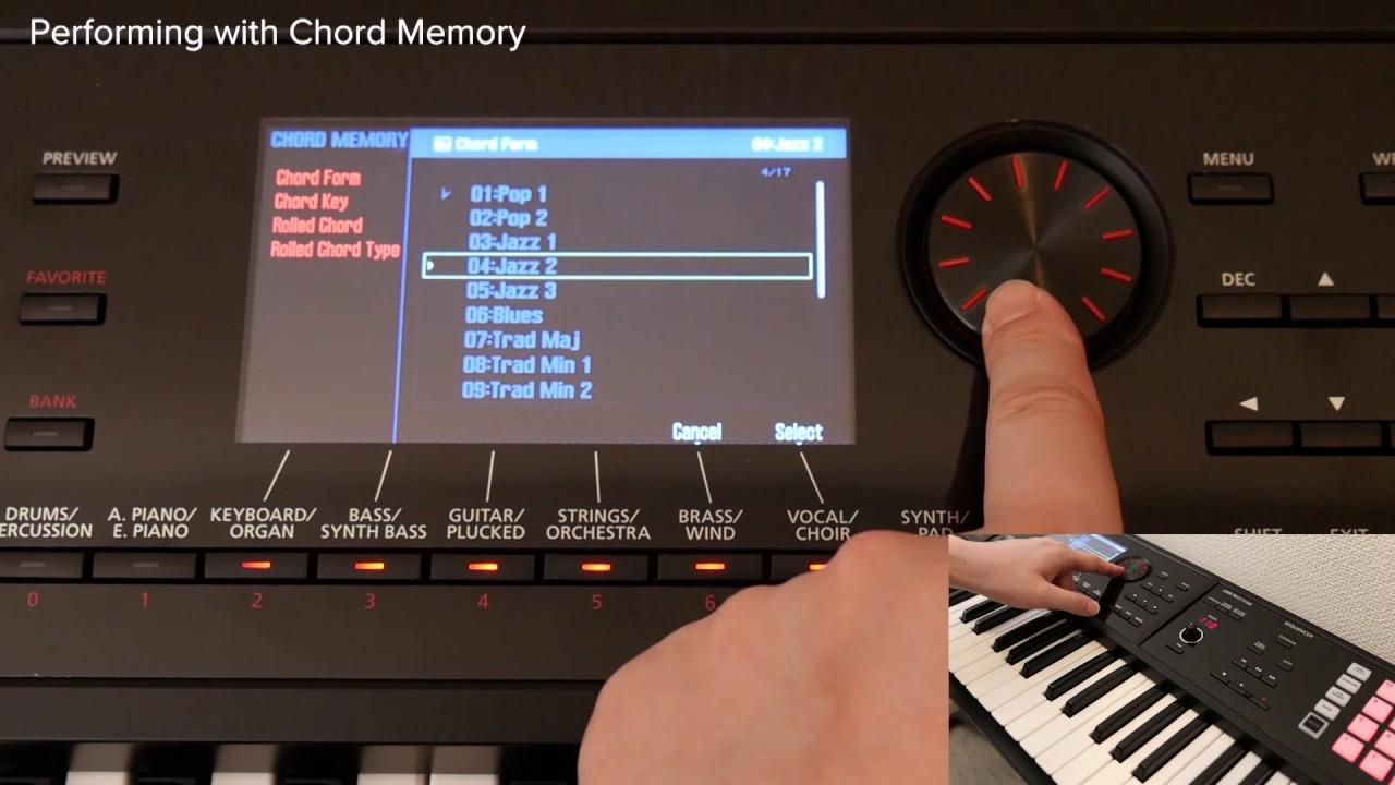 using the chord memory function roland fa 06 fa 07 fa 08 05 youtube. Black Bedroom Furniture Sets. Home Design Ideas