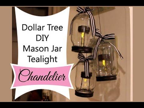 Dollar Tree Diy Mason Jar Tealight Chandelier Youtube