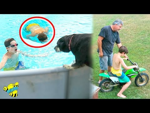 DOG TRIES TO SAVE BOY IN POOL / HIS FIRST MOTORCYCLE!