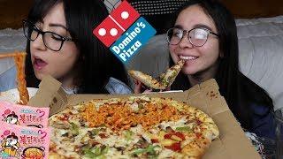 DOMINOS PIZZA AND RAMEN MUKBANG | EATING SHOW