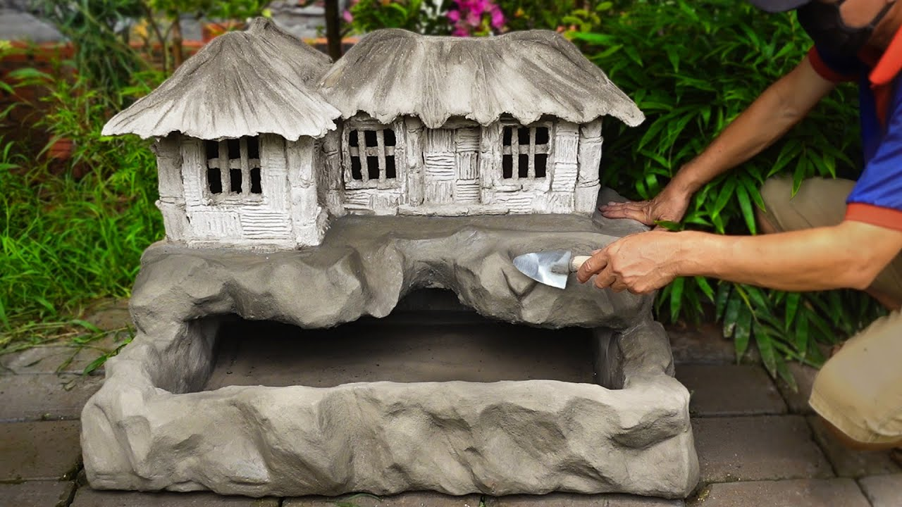 Download How to Build a rustic house with aquarium from styrofoam and cement