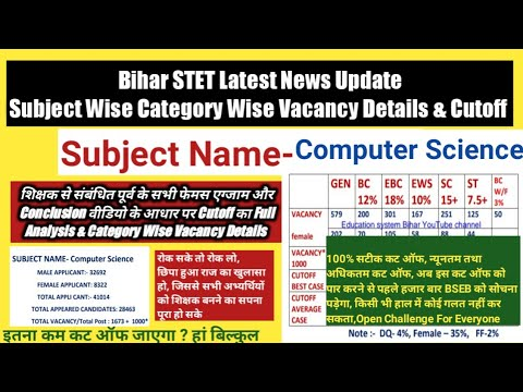 Bihar STET Computer Science Category Wise Vacancy Details U0026 Cutoff,Applicants Appeared Candidates