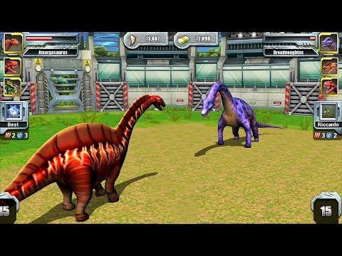 Jurassic Park Builder JURASSIC Tournament Android Gameplay Amargasaurus VS Dreadnoughtus
