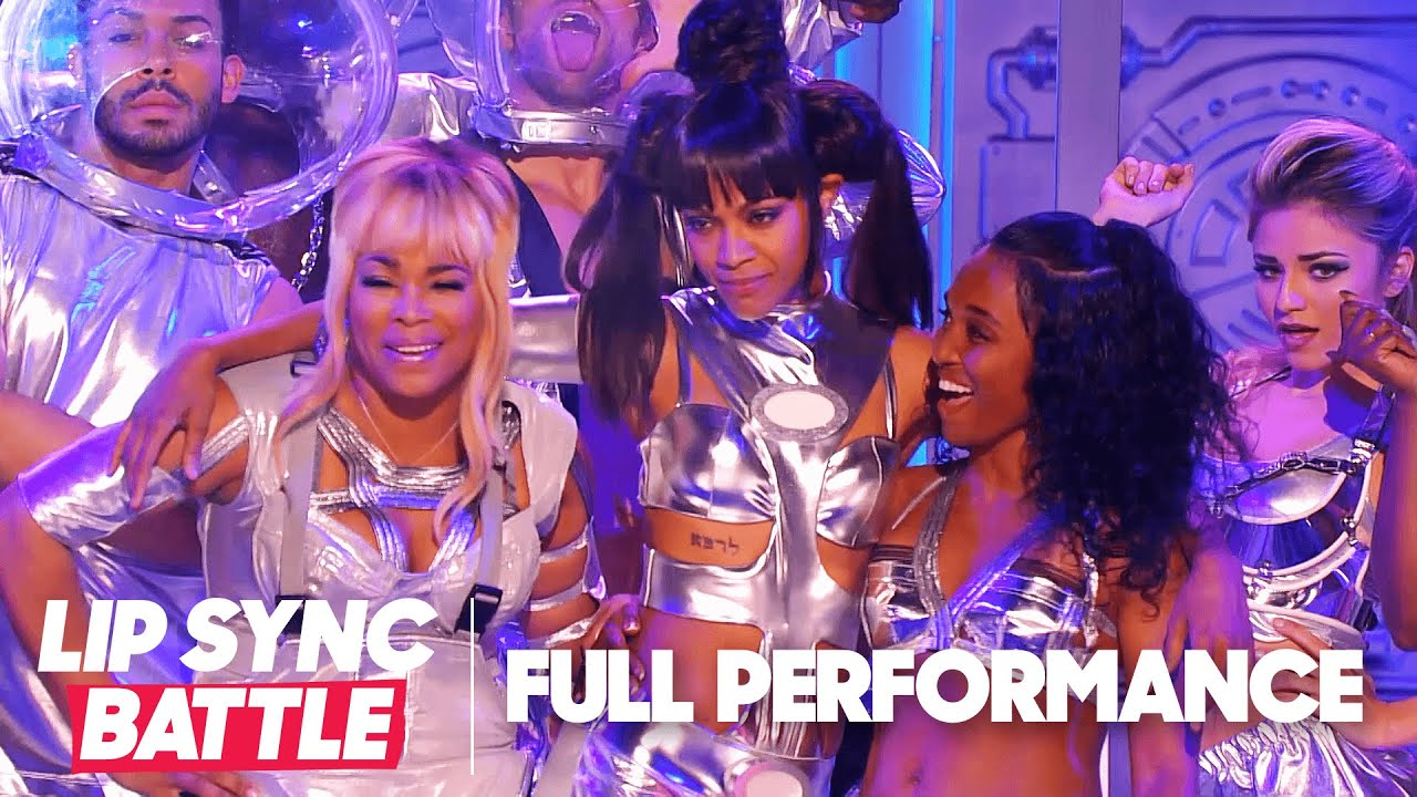 "Zoe Saldana Performs ""Stressed Out"" & ""No Scrubs"" w/ T-Boz & Chilli 🌶️ Lip Sync Battle"