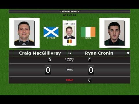 Snooker 6 reds Last 16 : Craig MacGillivray vs Ryan Cronin