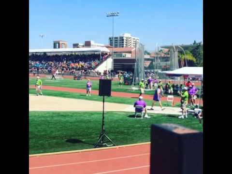 Mike Shapiro throwing shot-put at Special Olympics World Games.