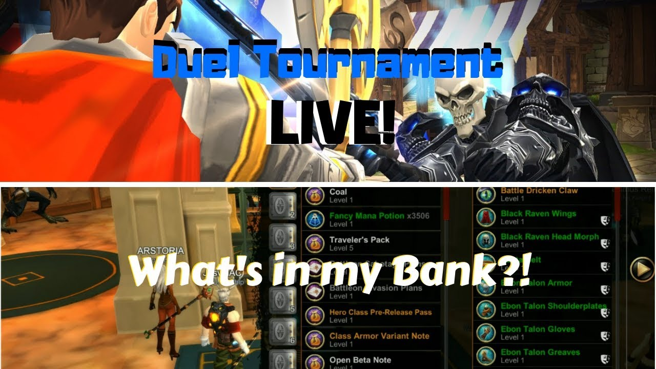 AQ3D Live DUEL Tournament & What's In My Bank? AdventureQuest 3D