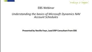 Microsoft Dynamics NAV Webinar Account Schedules