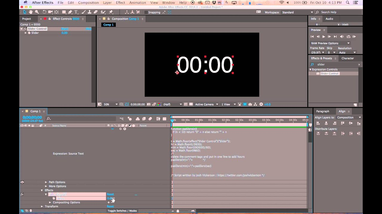 how to set a keyframe in after effects