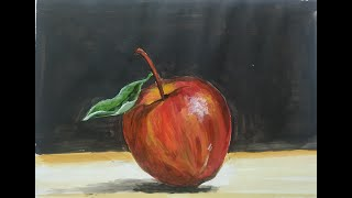 Painting of an Apple | Acrylic Painting Still Life Art Lesson