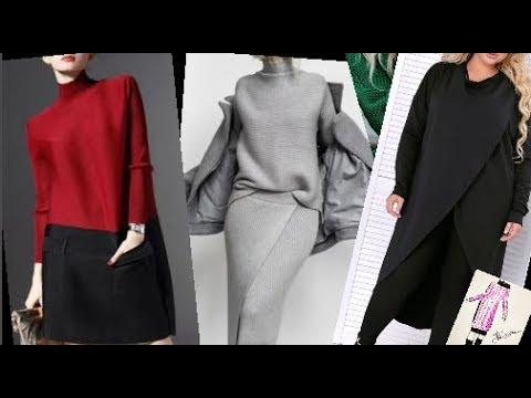 Трикотажные платья для женщин за 50.Зима 2020.