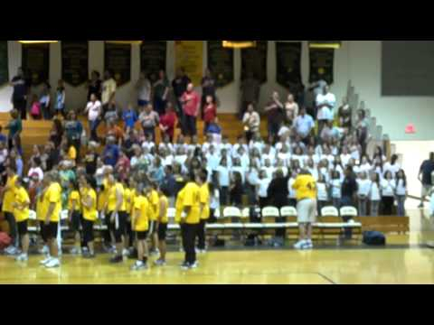 Great Bridge Intermediate Chorus sings National Anthem for student-faculty basketball game