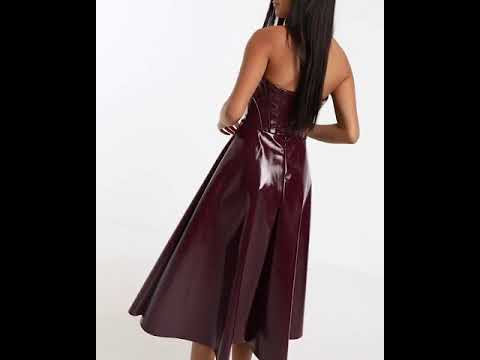 corseted-vinyl-bandeau-midi-prom-dress