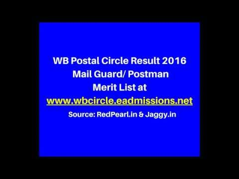 WB Postal Circle Result 2016 | Mail Guard/ Postman Merit List | Jaggy