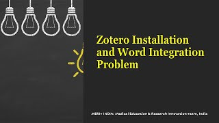 Zotero installation and Word Integration Problem