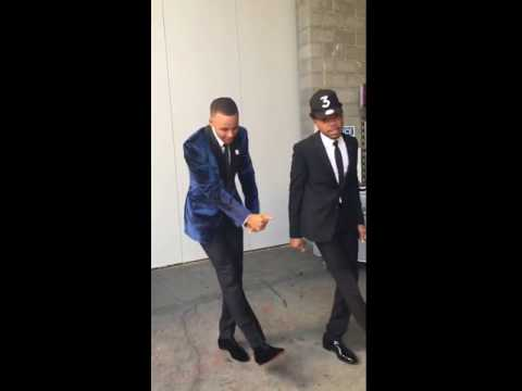 "Steph Curry and Chance the Rapper dance ""the Jones"""