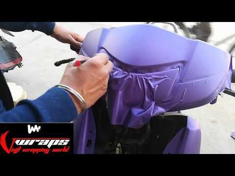 Honda activa vinyl wrapping purple matt/Activa modification
