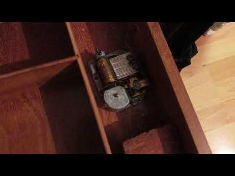 Vintage Inlaid Wood Swiss Movement Music Table - Jewelry Box