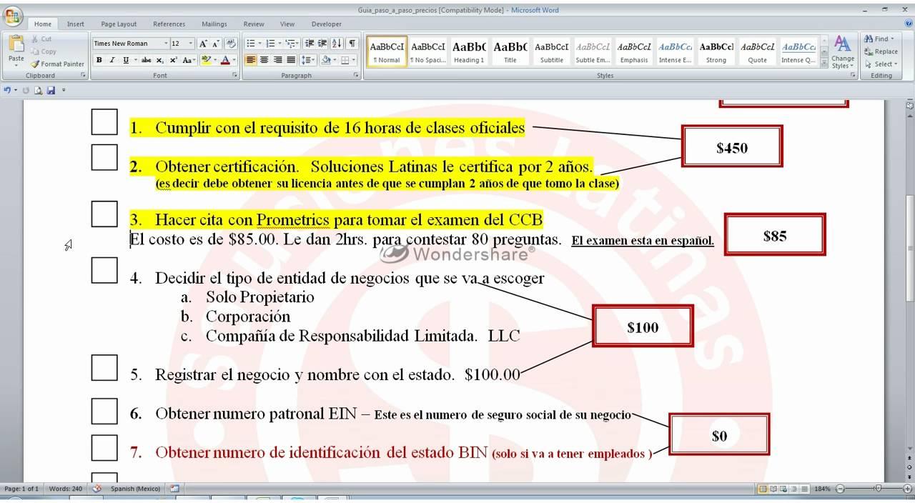 Presupuesto para sacar la licencia del Contratista CCB