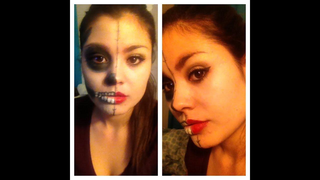 maquillaje facil para halloween , mitad cara esqueleto