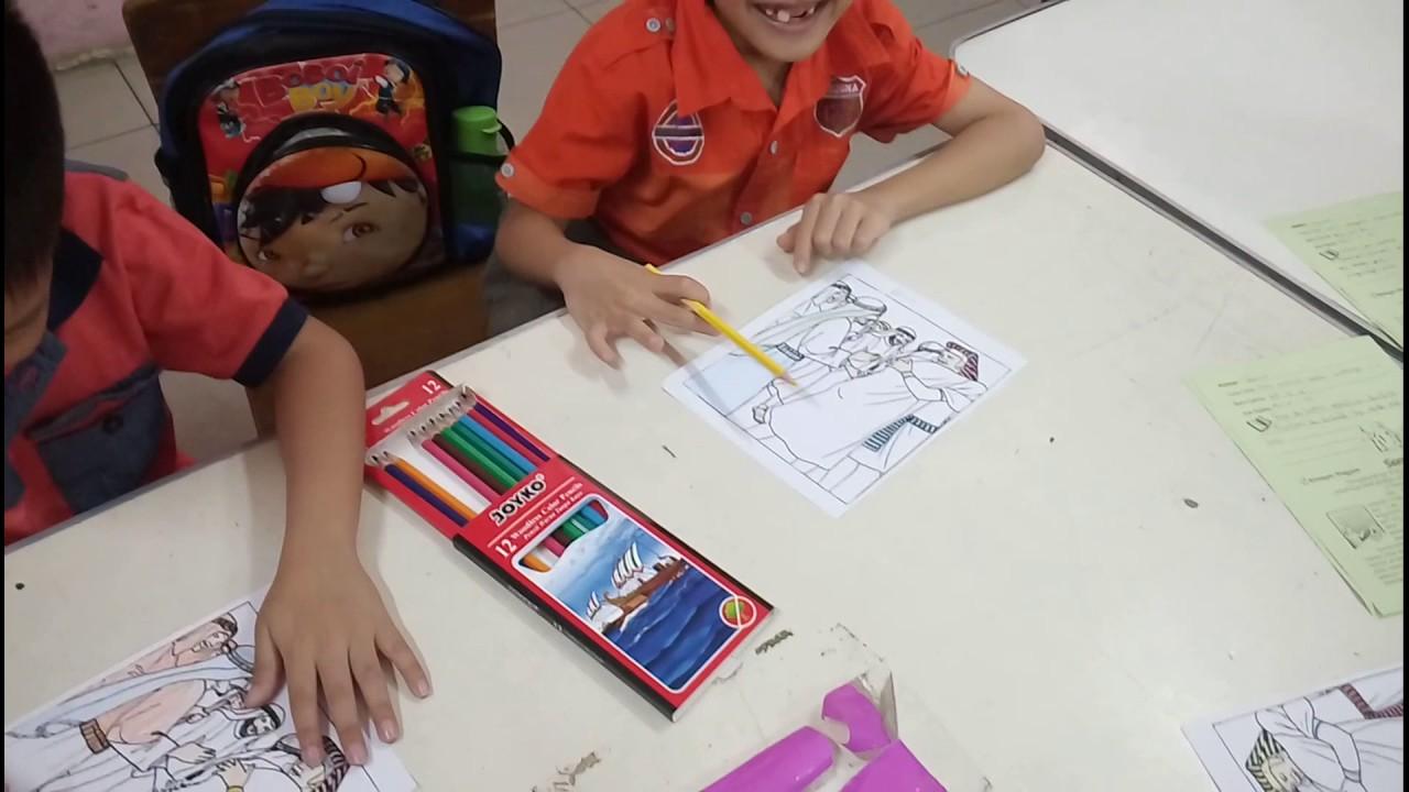 Aktivitas mewarnai sekolah minggu gambar yusuf dan saudara
