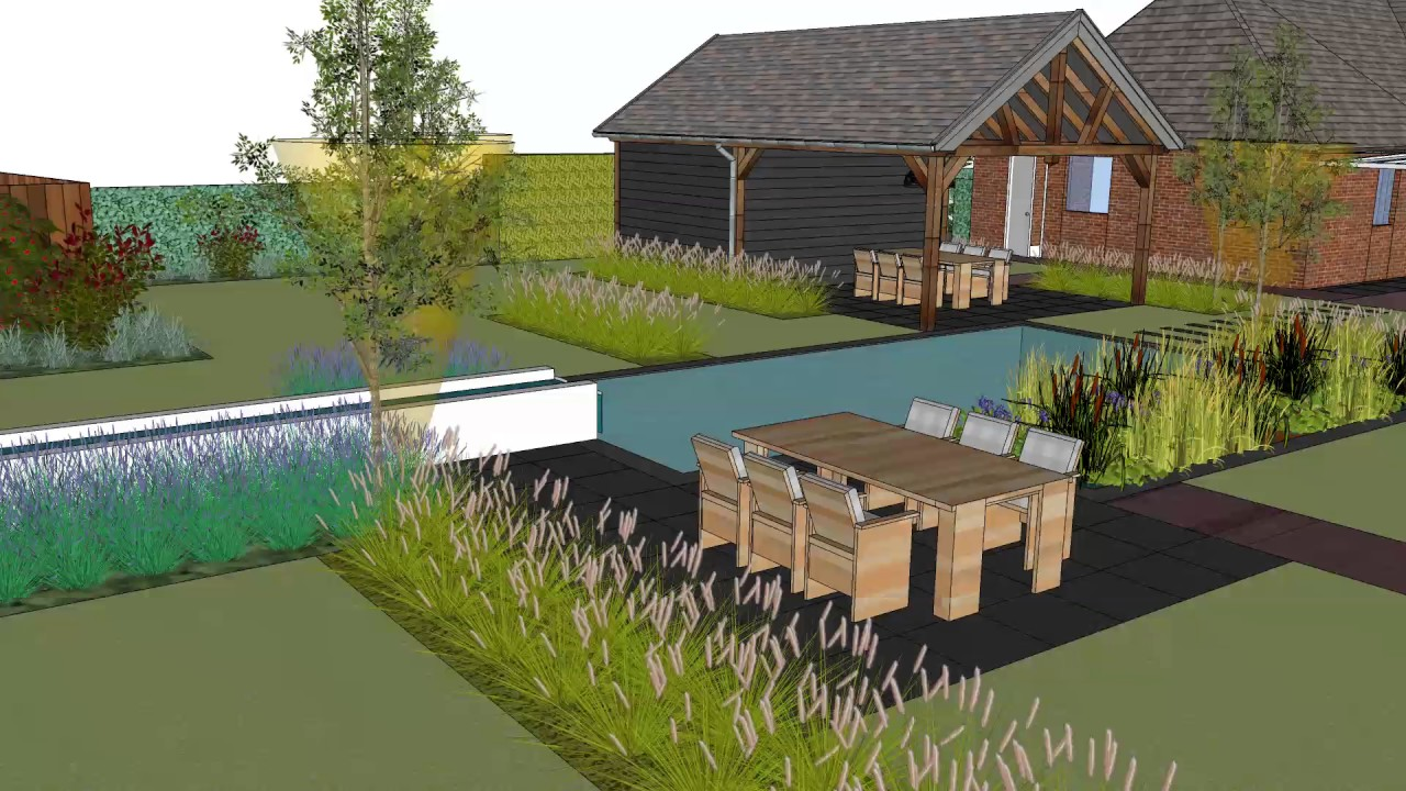 De groot hoveniers d ontwerp moderne tuin met zwemvijver en