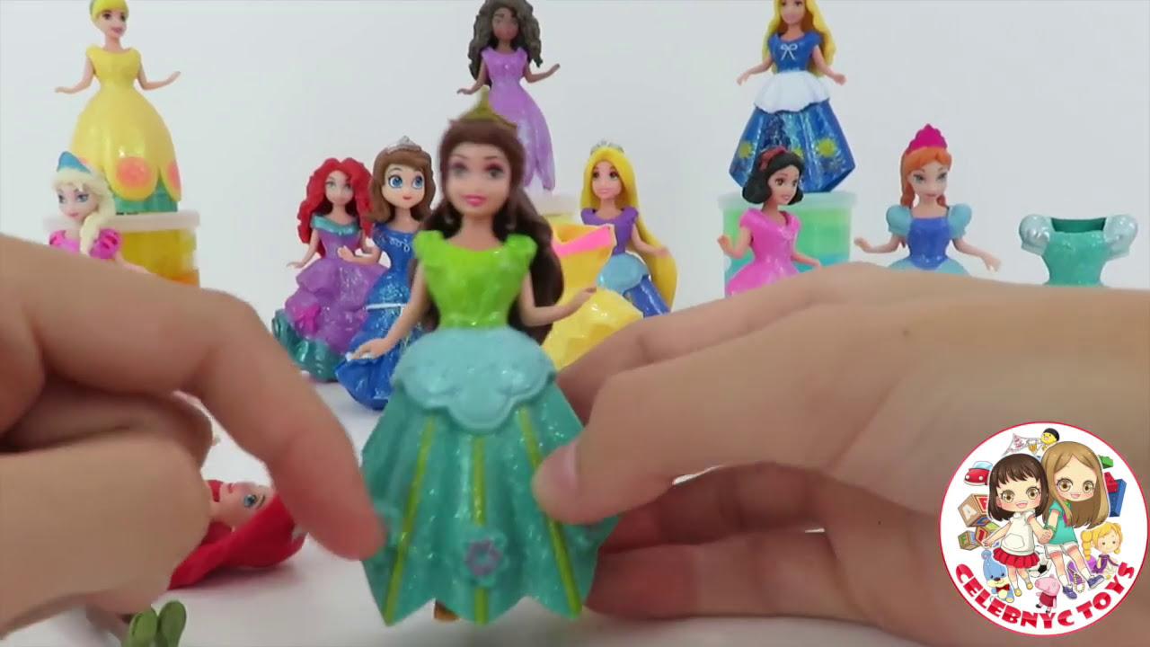 Glitter Putty ! Frozen dolls Elsa & Anna Sparkly Magiclip Cinderella Ariel  Rapunzel Moana doll