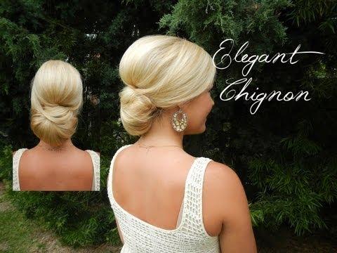 Smooth Elegant Volumized Chignon Without Heat (Long/Medium Hair)
