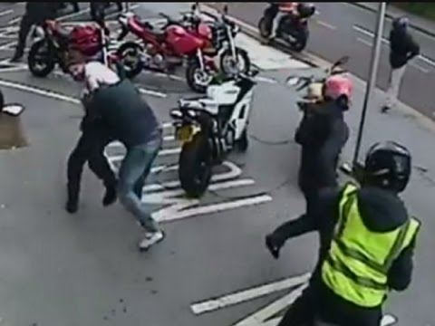 CCTV shows failed Ducati motorcycle robbery in Croydon