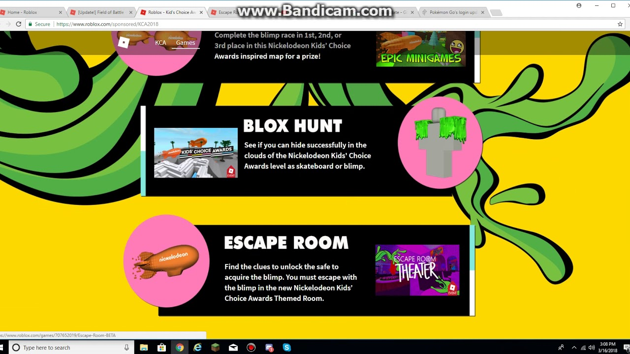 Nickelodeon Kids Choice Awards 2018 On Roblox Update Youtube