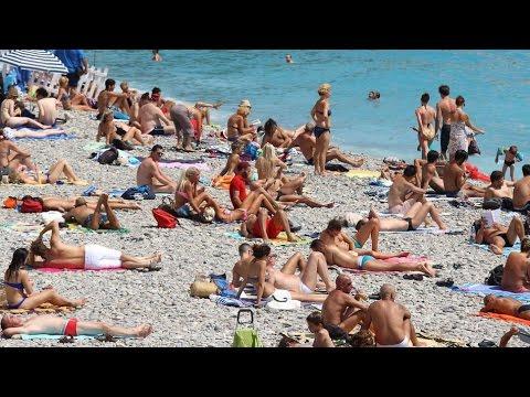 Nice, France, beach and Promenade Du Paillon